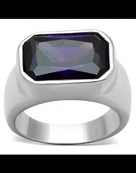 Ring 925 Sterling Silver Silver AAA Grade CZ Amethyst