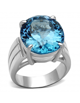 Ring 925 Sterling Silver Silver Synthetic Sea Blue Spinel
