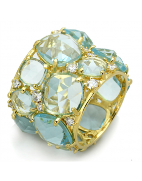 Ring 925 Sterling Silver Gold Synthetic Sea Blue Synthetic Glass