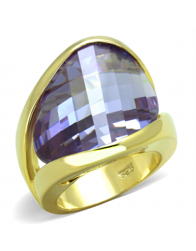 Ring 925 Sterling Silver Gold AAA Grade CZ Amethyst