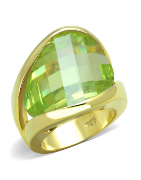 Ring 925 Sterling Silver Gold Synthetic Apple Green color Synthetic Glass