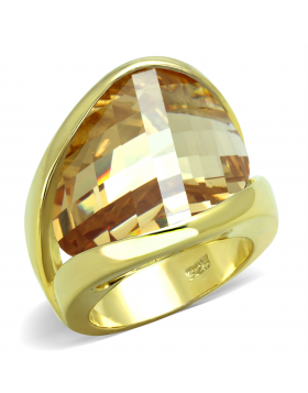 Ring 925 Sterling Silver Gold AAA Grade CZ Champagne