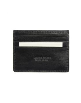 Classic leather card holder V - Black