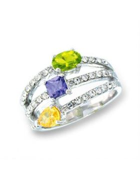 Ring 925 Sterling Silver Rhodium AAA Grade CZ Multi Color Pear