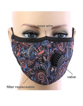 Paisley Respirator Mask - Black Multi