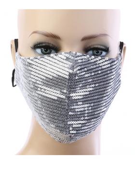 Sequin Respirator Mask - Silver
