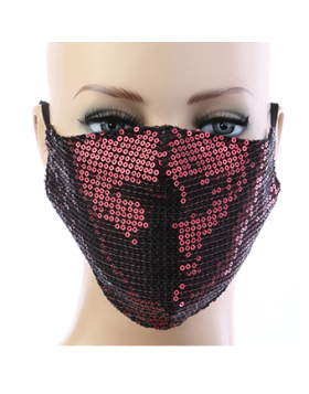 Sequin Respirator Mask - Red
