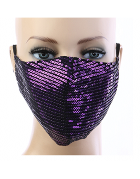 Sequin Respirator Mask - Purple
