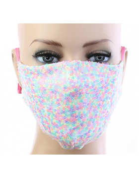 Sequin Respirator Mask - White Multi