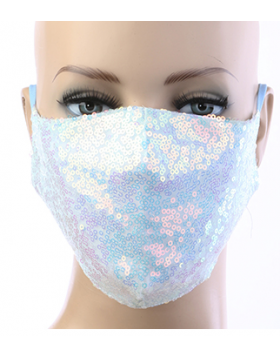 Sequin Respirator Mask - Lite Blue Multi