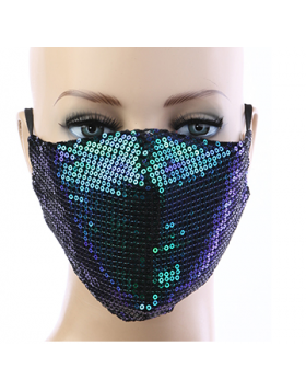 Sequin Respirator Mask - Green