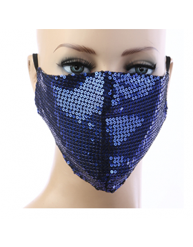 Sequin Respirator Mask - Dark Blue