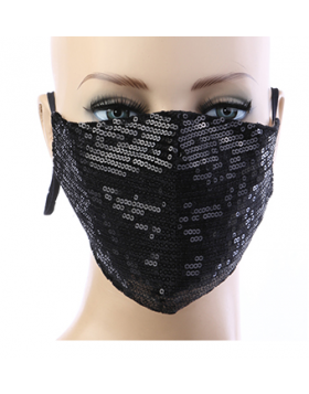 Sequin Respirator Mask - Black