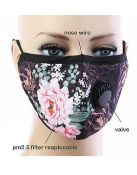 Floral Art Respirator Mask  - Black Multi
