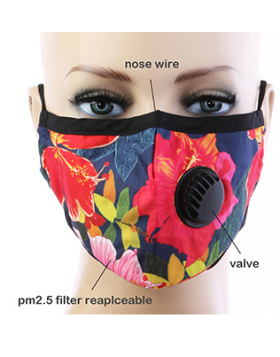 Hawaiian Respirator Mask  - Black Floral
