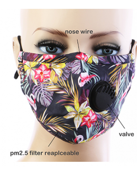 Tropical Respirator Mask  - Black Floral