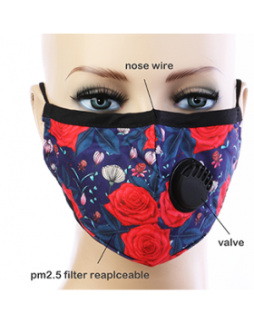 Rose Respirator Mask  - Blue Floral