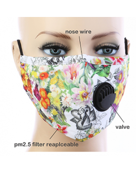 Spring Floral Respirator Mask  - White Multi