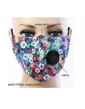 Flower Garden Respirator Mask  - Blue Multi