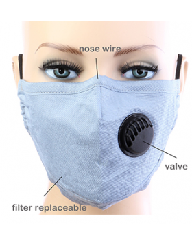 Cotton Respirator Mask  - Sky Blue