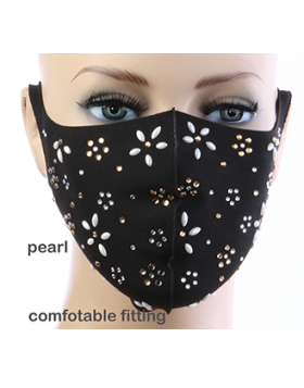 Pearl Daisy Mask  - Black