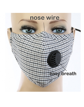 Preppy Plaid Respirator Mask - Grey Multi