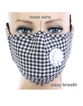 Plaid Respirator Mask - Black
