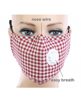 Plaid Respirator Mask - Red