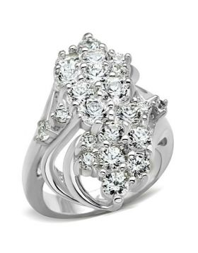 Ring 925 Sterling Silver Silver AAA Grade CZ Clear Round