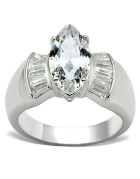 Ring 925 Sterling Silver Silver AAA Grade CZ Clear