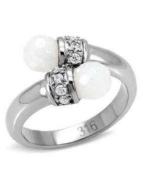 Ring Stainless Steel High polished (no plating) Milky CZ White