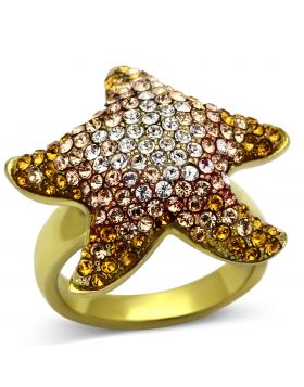 Ring Stainless Steel IP Gold(Ion Plating) Top Grade Crystal Multi Color
