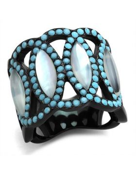 Ring Stainless Steel IP Black(Ion Plating) Precious Stone White Conch