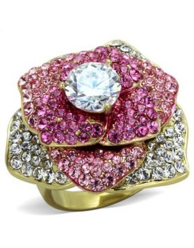 Ring Stainless Steel IP Gold(Ion Plating) AAA Grade CZ Clear