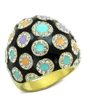 Ring Stainless Steel IP Gold(Ion Plating) Top Grade Crystal Clear