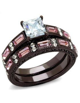 Ring Stainless Steel IP Dark Brown (IP coffee) AAA Grade CZ Clear Square