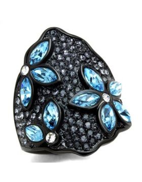 Ring Stainless Steel IP Black(Ion Plating) Top Grade Crystal Sea Blue