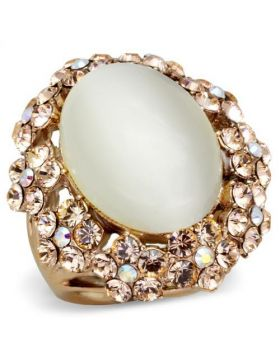 Ring Stainless Steel IP Rose Gold(Ion Plating) Synthetic White Cat Eye