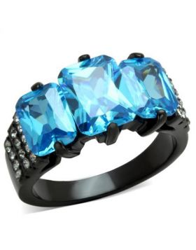 Ring Stainless Steel IP Black(Ion Plating) AAA Grade CZ Sea Blue