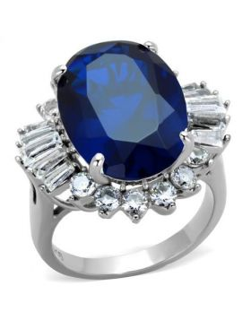 Ring Stainless Steel High polished (no plating) Synthetic London Blue Spinel