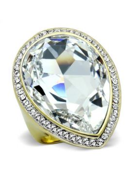 Ring Stainless Steel Two-Tone IP Gold (Ion Plating) Top Grade Crystal Clear