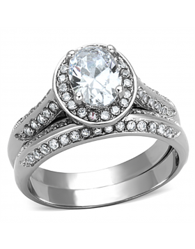 Ring Stainless Steel High polished (no plating) AAA Grade CZ Clear Oval