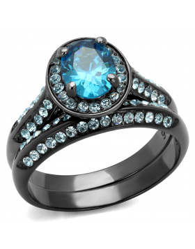 Ring Stainless Steel IP Light Black  (IP Gun) AAA Grade CZ Sea Blue Oval