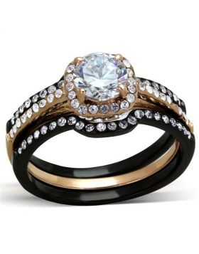 Ring Stainless Steel IP Rose Gold+ IP Black (Ion Plating) AAA Grade CZ Clear