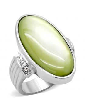 Ring Stainless Steel High polished (no plating) Precious Stone Apple Green color Conch