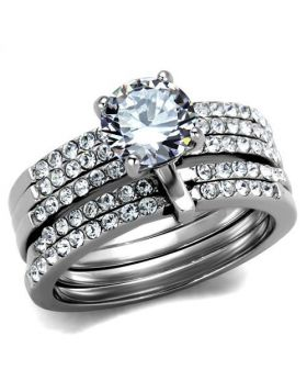 Ring Stainless Steel High polished (no plating) AAA Grade CZ Clear
