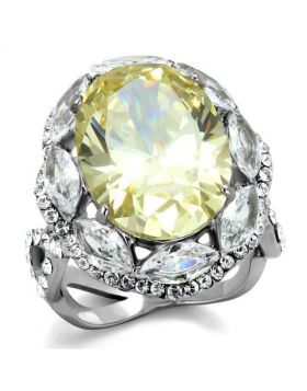 Ring Stainless Steel High polished (no plating) AAA Grade CZ Citrine Yellow