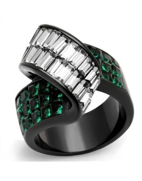 Ring Stainless Steel IP Black(Ion Plating) Synthetic Blue Zircon Synthetic Glass