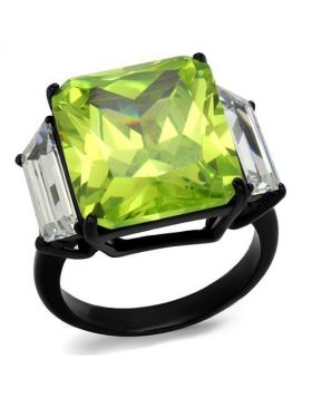 Ring Stainless Steel IP Black(Ion Plating) AAA Grade CZ Apple Green color