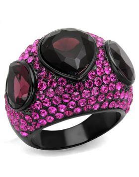 Ring Stainless Steel IP Black(Ion Plating) Synthetic Amethyst Synthetic Glass